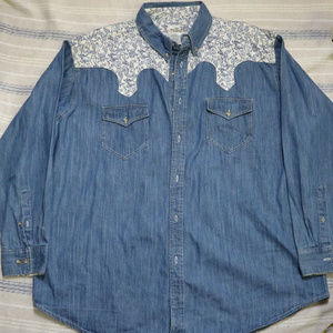VTG EXPRESS RIDER Western Wear Button Denim Shirt